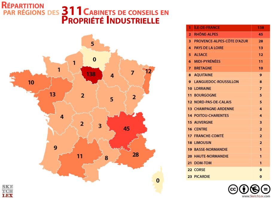 Répartition par régions des Cabinets de conseils en Propriété Industrielle