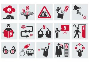 Collection d'icônes juridiques autour des concepts d'accès et de communication du Droit